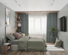 14 m bedroom - Галерея Master Bedroom Interior, Room Design Bedroom, Modern Bedroom Design, Bedroom Layouts, Bedroom Green, Small Room Bedroom, Home Room Design, Home Decor Bedroom, Apartment Interior