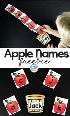 Apple Names! Have the kids pick the apples and spell their name- a great way for kids to learn how to read their name this fall or during an apple unit! #apples #namegames