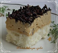 Kávés kókuszos szelet Hungarian Cake, Hungarian Recipes, Healthy Desserts, Dessert Recipes, Cake Bars, Coco, Sweet Recipes, Sweet Tooth, Food Porn