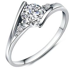 Women's White Cubic Zirconia Love Promise Cz Ring Engagement Wedding Eternity Bands Silver 8