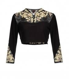 Buy Black art silk embroidered unstitched blouse blouse-fabric online
