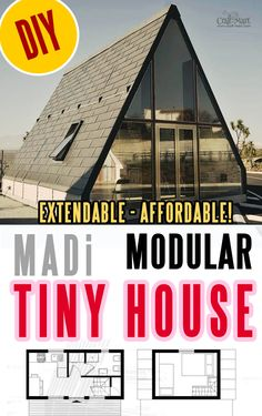 """This tiny home model can be """"unfolded"""" in one day to provide an affordable, high-quality living space quickly and easily. It is very durable, earthquake resistant. Explore our collection of prefabricated houses designed by tiny home builders from differen Diy Hanging Shelves, Diy Wall Shelves, Dollar Tree Storage Bins, Diy Pallet Sofa, Cabin Kits, Prefabricated Houses, A Frame House, Mason Jar Lighting, Tiny House Plans"""