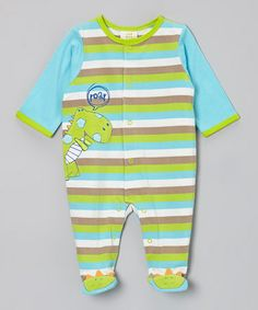Take a look at this Blue & Green Dino Footie Playsuit - Infant by Absorba on #zulily today!