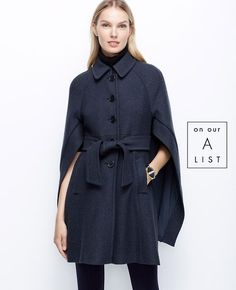 Buttoned-Up Boiled Wool Cape - Make an unforgettable entrance in this rich boiled wool topper, combining a belted coat with a confidently draped cape. Button front with hook-and-eye closure. Wool Cape, Cape Coat, Wool Dress, Wool Cardigan, Boho Mode, Belted Coat, Mode Inspiration, Autumn Winter Fashion, Seychelles