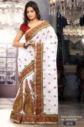 Chanderi silk heavy multy jari & B/R butta work broket short pallu & stone work with broket B/P  Read more http://www.jailakshmisarees.com/