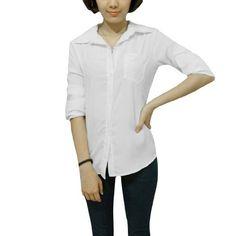 Allegra K Woman Long Sleeve Semi Sheer Button Closure Round Hem Chiffon Shirt White XS Allegra K. $9.53