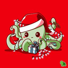 It's the most wonderful time of the year! 🎄 Get the red I Christmas t-shirt only at TeeTurtle! Exclusive graphic designs on super soft cotton tees. Cute Cartoon Drawings, Cute Animal Drawings, Kawaii Drawings, Cute Octopus, Octopus Art, Christmas Illustration, Cute Illustration, Octopus Drawing, Christmas Cartoons