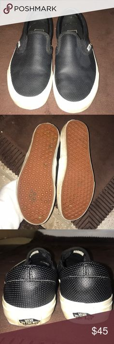 9f661df730f924 Black leather vans slip ons Worn about 4 times. Great condition size 7.5  Vans Shoes