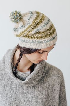 spruce hat by pam allen / in quince & co. owl, colors buru, barents sea, chamomile