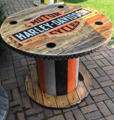 Uncategorized Cable Spool Table wooden spool harley davidson table my creationscool table Wooden Spool Tables, Cable Spool Tables, Wood Spool, Cable Spool Ideas, Cable Reel Table, Wooden Cable Spools, Pallet Furniture, Outdoor Furniture, Furniture Ideas