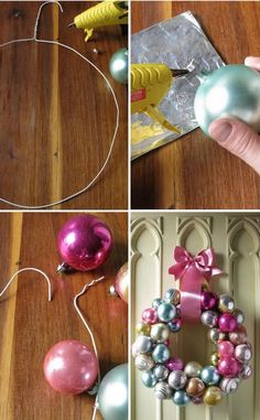 Everything Fabulous: Holiday Inspiration: Ornament Wreath + DIY 1. . Without even opening the hanger make a round shape.  2. To secure the metal cap to the ball, dab a little hot glue and press. 3. Untwist the end of the hanger, then start string one ornament at a time. Here is where you can play with color and size!  4. Cover the wire hook with a nice sating ribbon and voila... you have a lovely fun wreath that is super easy to hang..!!