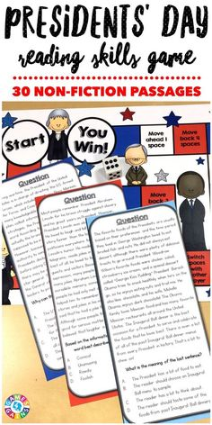 """""""GREAT game that really shares great information. Love it!"""" Presidents Day Reading Comprehension Board Game contains 30 game cards and a game board to help students practice a variety of nonfiction reading skills. Each game card includes a paragraph with some fun facts about a U.S President and a multiple choice question to assess students' understanding."""
