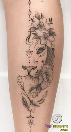 70 female and male lion tattoos TopTattoos, # … Piercing - tattoo feminina Leg Tattoos Small, Back Of Leg Tattoos, Small Meaningful Tattoos, Top Tattoos, Tattoos For Women Small, Body Art Tattoos, Sleeve Tattoos, Trendy Tattoos, Female Tattoo Sleeve