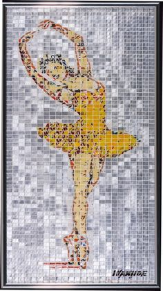 """Tip Toe,"" a work of art made out of tiles of aluminum cans, by Jeff Ivanhoe."