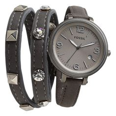 Fossil 'Heather' Round Leather Strap Watch, 42mm (7.430 RUB) ❤ liked on Polyvore featuring jewelry, watches, bracelets and watches, reloj, women, fossil jewelry, slim watches, leather strap watches, heather jewelry and fossil watches