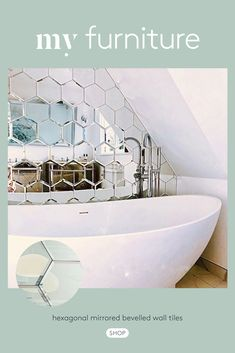 Beautifully crafted tiles that can be used in any room in your house - kitchen, bathroom, living room etc. They add sparkle and glamour as well as offer a useful reflective mirror surface. Bad Inspiration, Bathroom Inspiration, Home Decor Inspiration, Tiny Bathrooms, Upstairs Bathrooms, Bathroom Design Small, Bathroom Interior Design, Attic Bedroom Small, Bad Styling