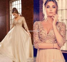 Vintage Women Formal Evening Dresses with 3/4 Long Sleeves Pearls Beads 2015 Champagne Chiffon Floor Length Plus Size Party Gowns Prom Dress Online with $111.96/Piece on Sweet-life's Store   DHgate.com