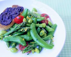 Warm Sugar Snap Pea and Vegetable Salad Warm Salad, Sugar Snap Peas, Recipe Details, Vegetable Salad, Green Beans, Appetizers, Healthy Recipes, Meals, Drink