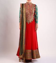 Red Embroidered #Cotton And Net #Anarkali #Suit