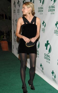 Diane Kruger during Global Green USA Annual PreOscar Celebration to Benefit Global Warming Red Carpet at Avalon in Hollywood California United. Pantyhose Outfits, Nylons And Pantyhose, Diane Kruger, Emma Watson Legs, Fashion Tights, Adidas Outfit, Famous Girls, Black Stockings, Black Tights