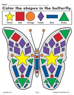 FREE Printable Butterfly Themed Shapes Coloring Worksheet! Practice shape recognition, fine motor skills, and more with this fun butterfly themed shape worksheet. It's a perfect addition to your spring preschool and kindergarten lesson plans. Get the free shapes coloring worksheet here --> https://www.mpmschoolsupplies.com/ideas/7944/free-printable-butterfly-shapes-coloring-pages/