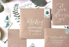 white on kraft // Calligraphy envelope addressing | A Fabulous Fete
