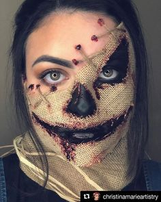 Posted via S C A R E C R O W Tried recreating scarecrow! I loveee the idea of this look! Video tutorial coming later tonight! Products used- black cake eyeliner stage blood and thick blood Twine Burlap Horror Halloween Costumes, Diy Halloween Costumes For Women, Halloween Makeup Looks, Halloween Halloween, Group Halloween, Zombie Makeup, Scary Makeup, Makeup Art, Makeup Ideas