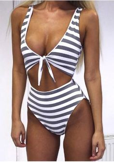 a11bf7600f329 One Piece Swimsuit Women Sexy Lady Swimwear Striped Bow Knot Beachwear  Siamese Bikini Rosette Bathing Suit Female Bikinis 962739
