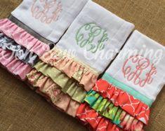 Ruffle Monogrammed Burp Cloth