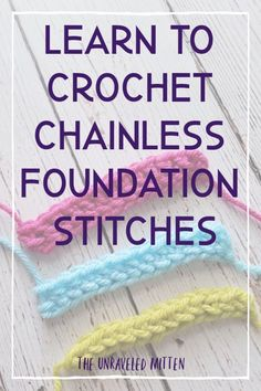 Tutorial: Foundation Crochet Stitches Learn a new crochet skill! This tutorial shows you how to crochet the foundation single, half double and double crochet stitches. No more chaining to start! Crochet Stitches For Beginners, Crochet Stitches Patterns, Crochet Basics, Crochet Designs, Different Crochet Stitches, Embroidery Stitches, Crochet Crafts, Crochet Projects, Knitting Projects