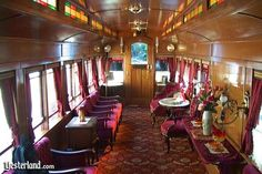 The Lilly Belle parlor car has an opulent interior for VIP guests.  Yesterland.com