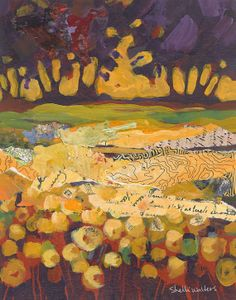 ON SALE Yellow Flowers Trees Sunset Landscape Original Painting