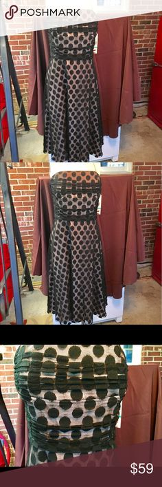 Jessica Howard Dressy Dress Spaghetti Straps and the look of fashion are both in this dress. See through black dots over beige - such a good looking dress you will love this beauty Jessica Howard Dresses