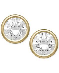 Bezel Stud Earrings in 14k Gold