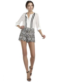 Jen-Love this look for inside. Modern and Cool! SYDNEY BOHO BUTTON DOWN BLOUSE in OFF WHITE by Alice + Olivia