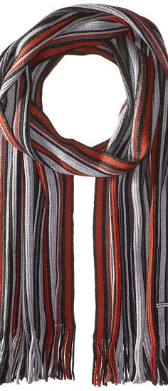 MICHAEL Michael Kors Four Color Variagated Stripe Raschel Muffler (Ash/Clay/Heather/Charcoal) Scarves - MICHAEL Michael Kors, Four Color Variagated Stripe Raschel Muffler, 2933503-ASH, Accessories Scarves General, Scarves, Scarves, Accessories, Gift, - Street Fashion And Style Ideas