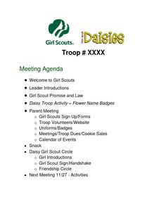 Parents meeting agenda and parent handout packet for Daisy Girl Scouts Girl Scout Badges, Brownie Girl Scouts, Girl Scout Cookies, Girl Scout Daisy Petals, Daisy Girl Scouts, Girl Scout Daisy Activities, Girl Scout Crafts, Girl Scout Leader, Girl Scout Troop