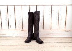 On Sale 15% off  - Vintage dark brown leather tall knee high boots/fitted zipper boots/90s chunky high heel boots/8 by GreenCanyonTradingCo on Etsy