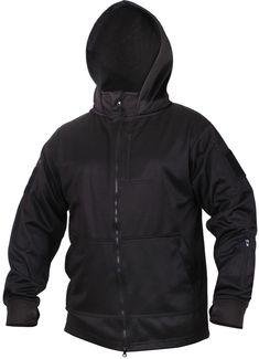 Black Tactical Fleece Hoodie Sweatshirt Covert Zipper Jacket Multi-Pocket  Police  Rothco  Hoodie c517eb42da