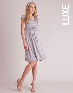 Dove Grey Grecian Maternity Dress | $225