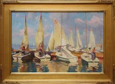 Calvin Liang  Sailing Day in Newport Beach   Oil - 20 by 30 Inches  $4,400 www.trailsidegalleries.com #paintings #art #maritime #seascape