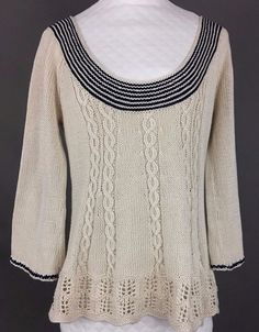 ATHROPOLOGIE SPARROW Cotton Sweater, Bell Sleeves, Ivory & Blue Stripes, Wm XS #Anthropologie #ScoopNeck