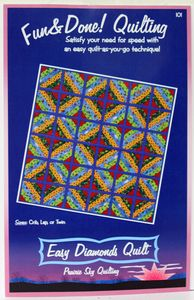 Fun & Done Easy Diamonds. I have made 2 quilts off this pattern and almost finished with my third one. This pattern is so easy and so many color combinations you can do. I use it with the Batting buddy template which makes it go a lot faster. Quilting Tools, Quilting Projects, Sewing Projects, Quilt As You Go, Sewing Hacks, Sewing Tips, Diamond Quilt, Rag Quilt, Easy Quilts