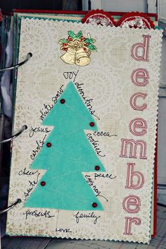 The word December down the side of the page and a list of things we want to do this holiday season. For first page.