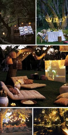 Outdoor movie watching with a projector, cushions, outdoor heaters & fair lights turns a backyard into a home cinema - see our other pin for popcorn recipes - please click for 14 other DIY Projects to make your backyard awesome #home...x