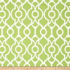 Screen printed on cotton duck; this versatile medium weight fabric is perfect for window accents (draperies, valances, curtains and swags), accent pillows, duvet covers and upholstery. Create handbags, tote bags, aprons and more. *Use cold water and mild detergent (Woolite). Drying is NOT recommended - Air Dry Only - Do not Dry Clean. Colors include white and kiwi green.