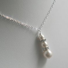 TriPearl Drop Necklace Bridesmaids Jewelry Bridal by kymjewelry, $14.00