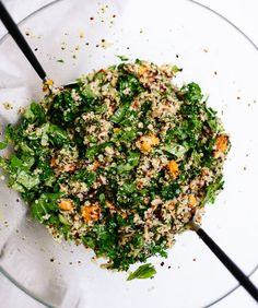 Quinoa Salad with Roasted Sweet Potato, Kale and Pesto Vinaigrette: Hearty greens and sweet potatoes are a great energy boost for the new mama and this salad packs it in.