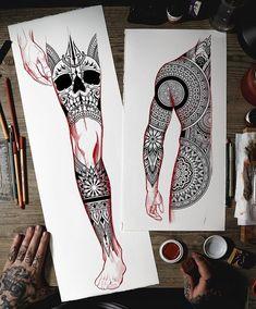 Dragon Sleeve Tattoos, Leg Sleeve Tattoo, Leg Tattoos, Body Art Tattoos, Tatoos, Geometric Mandala Tattoo, Geometric Tattoo Design, Mandala Art, Full Tattoo