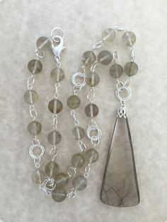 Rutilated Quartz Pendant Necklace on Beaded Strand of by Rock2Gems